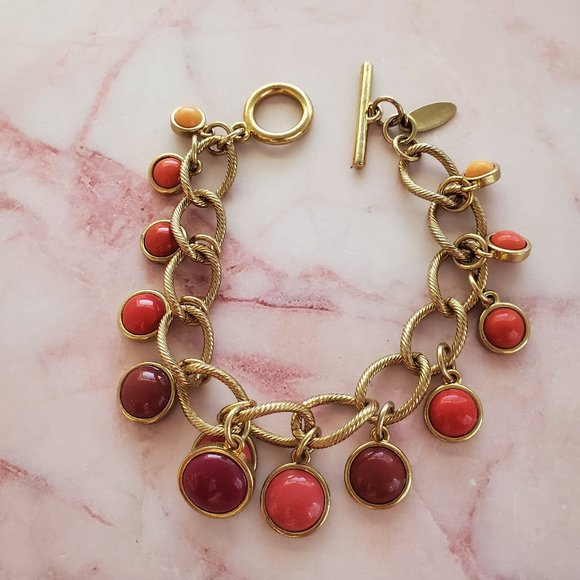 Talbots Red Orange Enamel Gold Chain Toggle Clasp